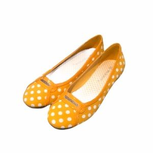 Polka Dot Flats Marigold Orange Slip Ons Size 5.5